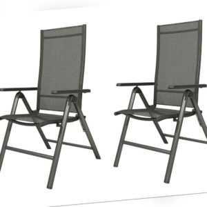 Klappsessel Gartenbstuhl Klappstuhl 2er Set Aluminium schwarz FLORABEST B-Ware