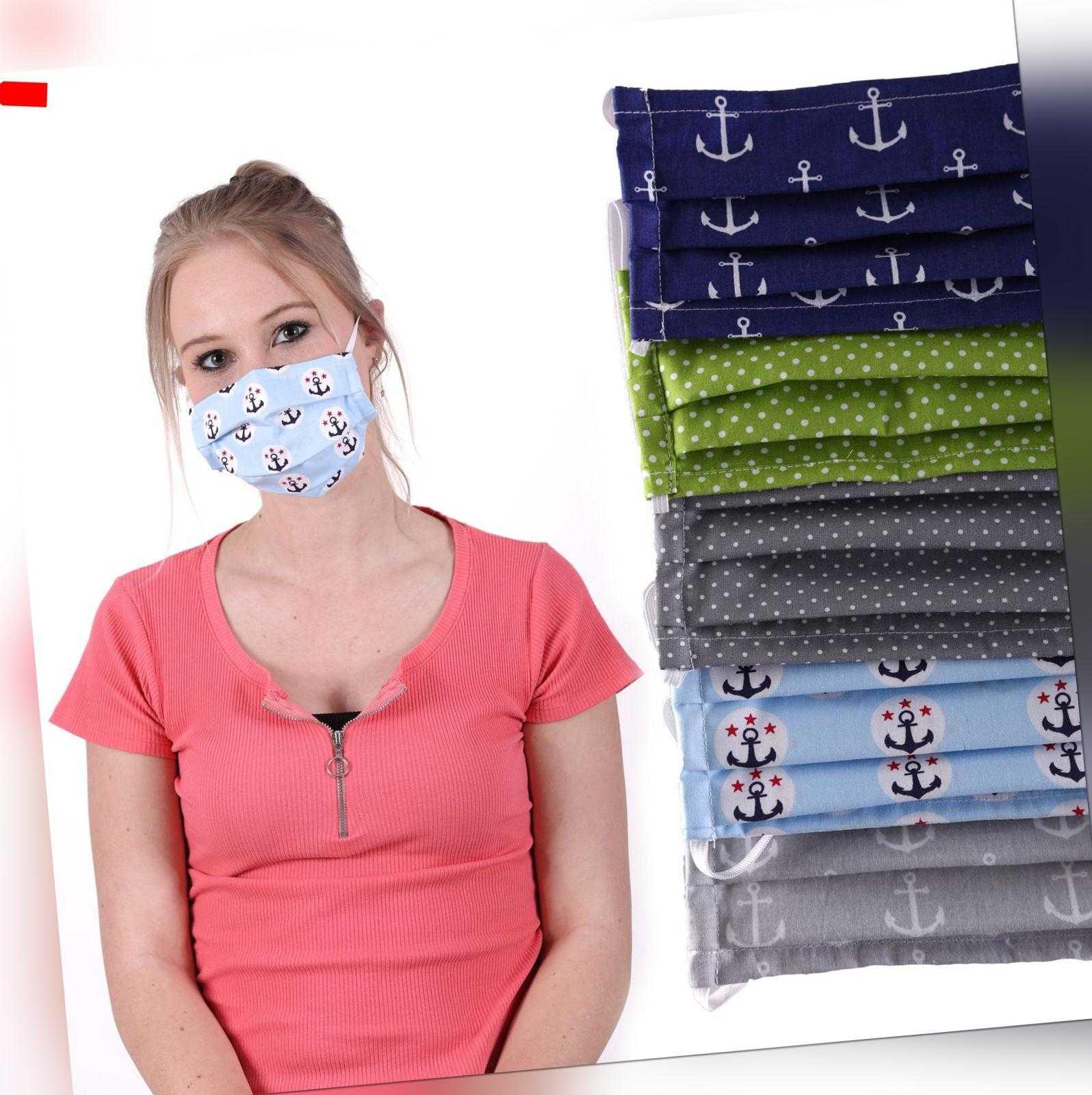 Behelfs- Mundschutzmaske aus Baumwolle Unisex Stoff Maske Spuck-Schutz  waschbar