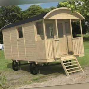 Bauwagen mit Veranda 240 x 500 cm Zirkuswagen inkl. Dachbedeckung Holzwagen Haus