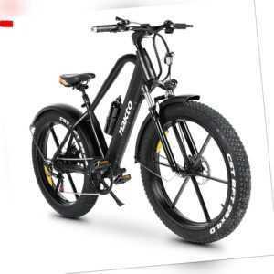 26 zoll Elektrofahrrad E-bike 5 Gang Alu MTB✅20-50km✅500W✅10Ah✅4.0 Reifen✅