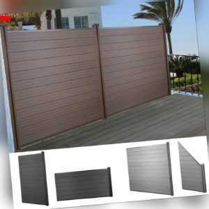 WPC-Sichtschutz Sarthe, Windschutz Zaun, WPC-Pfosten grau oder braun