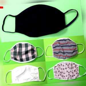 Wiederverwendbare Mundschutzmaske Gesichtmaske 100% Baumwolle waschbar 2-lagig