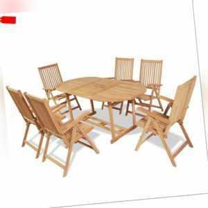 vidaXL Teak Massiv Gartenmöbel 7-tlg. Gartengarnitur Sitzgruppe Sitzgarnitur