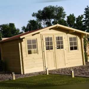 34 mm Gartenhaus 400x300 cm + DACHSCHINDELN Holz Gerätehaus Blockhaus Schuppen