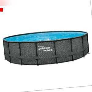 Swimming Pool Schwimbecken Elite Ø550x132 cm Rattan Look Aufstellpool Schwimmbad