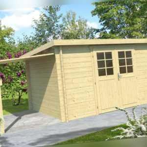 34 mm Gartenhaus 400x300 cm + SCHLEPPDACH Gerätehaus Holzhaus Schuppen Holz