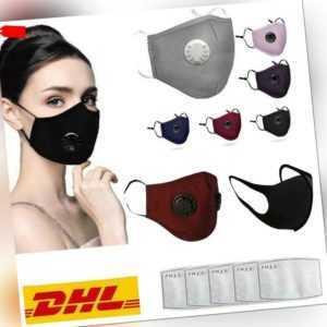 Wiederverwendbar Atemschutz Gesichtsmaske Mundschutz Staub Waschbar + 2X Filter