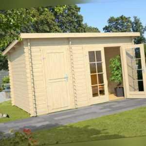 Lasita Gartenhaus Gerätehaus BELMONT 1, 380x250 cm, 28mm Wände, 2 Räume, +Boden