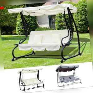 Outsunny Hollywoodschaukel Gartenschaukel 3-Sitzer Liegefunktion Stahl 2 Farben