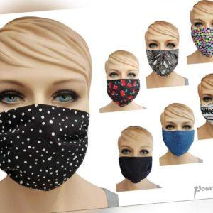 Behelfs-Mund-Nasen-Atem-Gesicht-Maske Baumwolle 60° + Filter-Option Spuck-Schutz