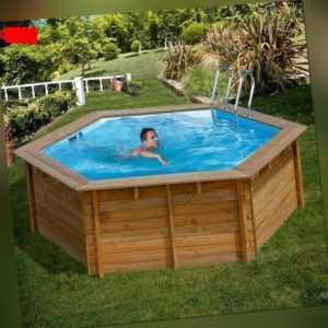 Gre Sunbay Swimmingpool runder Echtholzpool Vanille Ø 412 x 119 cm