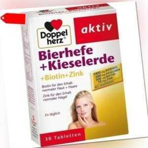 DOPPELHERZ Bierhefe+Kieselerde Tabletten 30x1,24 g 03296828