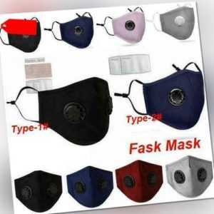 Washable Breathable Face Shield Mouth Cover Anti Protection With Filter Valved