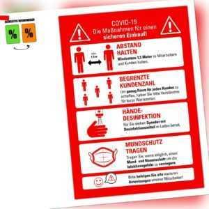 3 Stück Regeln Abstand Corona Schild Markierung Hinweischild A4