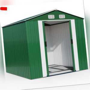 XXXL Gerätehaus Geräteschuppen 8m² Metall Gartenhaus Schiebetür 14,7m³ Gardebruk