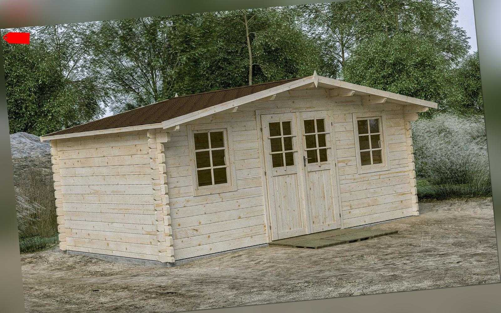 44 mm Gartenhaus 500x320 cm incl. Fussboden + Dachpappe Gerätehaus Blockhaus