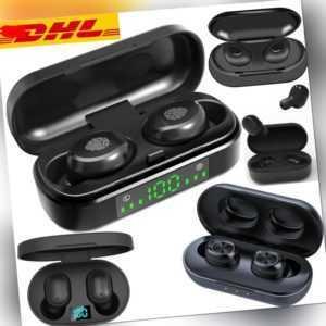 TWS Wireless Bluetooth 5.0 Kopfhörer Sport Headset mit Ladestation Mikrofon