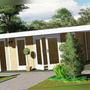 Gartenhaus Flachdach mit Anbau, 4.5x3M + 90CM 28mm Blockhaus Holz Kiel EB28227L