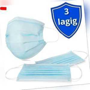 50 Einweg Mund Nasen Maske Behelfsmaske 3-lagig