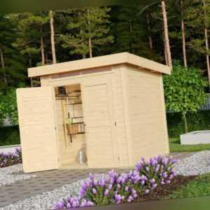 KARIBU SPARSET 28mm Gartenhaus Keno 1 A natur mit Boden & Dachfolie