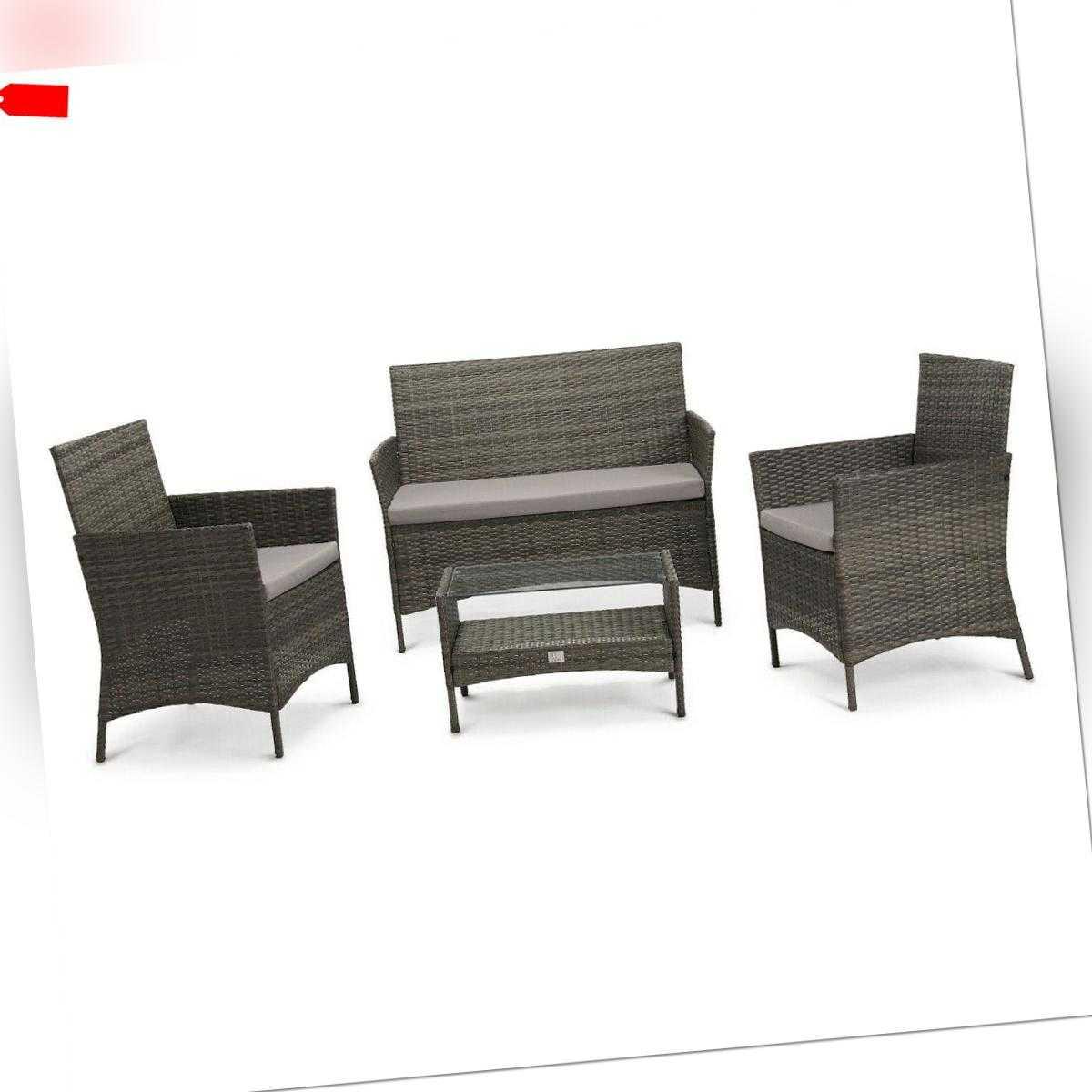 SVITA BROOKLYN 2020 Polyrattan Sitzgruppe Lounge Garnitur Gartenmöbel Set grau