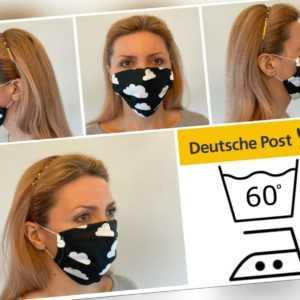 Maske Schwarz mit weißen Wolken waschbar Mundmaske Gesichtsmaske Behelfsmaske