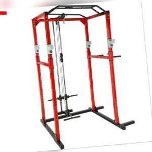 Kraftstation Fitnessstation Power Rack Power Cage Klimm Latzug Dip rot-schwarz