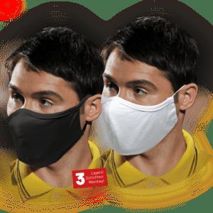 Mundschutz 5 STÜCK SPAR-PAKET Maske 100% Baumwolle Waschbar Atemschutz 3-lagig