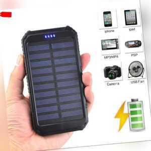 Powerbank 50000mAh Externer Solar Batterie Ladegerät 2USB für alle Handy Mobiles