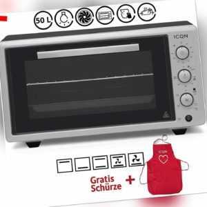 ICQN Minibackofen mit Umluft 50 Liter | 90 Min Timer | Pizza-Ofen