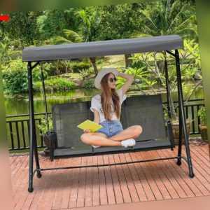 3-Sitzer Hollywoodschaukel Gartenschaukel mit Sonnendach Ablage Aluminium Grau