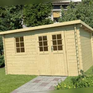 34 mm Gartenhaus 400x300 cm Gerätehaus Blockhaus Holzhaus Holthütte Pultdachhaus