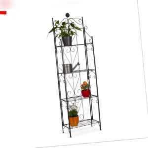 Relaxdays Blumenregal Metall mit 4 Ablagen, klappbar, als Pflanzenregal, schwarz