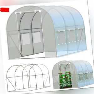 Gewächshaus 2.5x4m Treibhaus Garten Tomatenhaus Foilen Pflanzenhaus Polytunnel