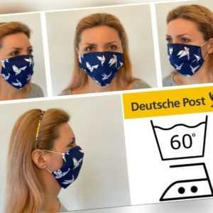 Maske Dunkelblau Origam waschbar Mundmaske Gesichtsmaske Behelfsmaske