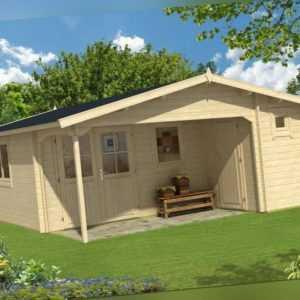Topgarden Gartenhaus Jedi 5x5 m + WC-/Abstellraum 45mm, Premium-ISO