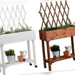 Hochbeet mit Rollen Pflanzkasten Kräuterbeet Holz Rankgitter Garten Weiß
