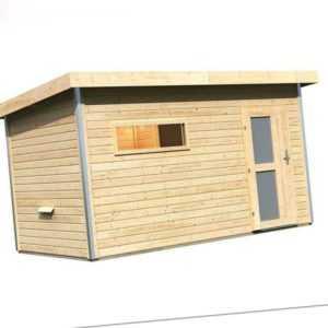 Karibu Saunahaus SKROLLAN 3 natur Gartenhaus Gerätehaus 393x231cm 38mm