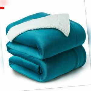 Bedsure Sherpa Decke Türkis Zweiseitige Wohndecken Kuscheldecken,