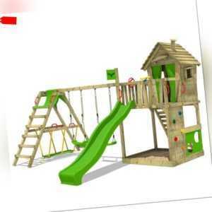 FATMOOSE HappyHome Hot XXL Spielturm Stelzenhaus mit Surf-Anbau + Doppelschaukel