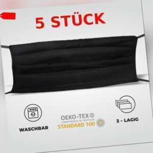 5 Stück Gesichtsmaske Mundmaske 3-lagig waschbar wiederverwendbar schwarz
