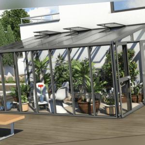 Vitavia Anlehngewächshaus Athena 4 Größen, hybrid Glas / HKP, anthrazit
