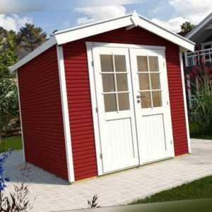 Wolff Finnhaus Gartenhaus Holzhaus Klassik 2424 Softline schwedenrot 241x235cm