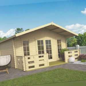 44 mm Gartenhaus ISO + Terrasse 500x570 cm Gerätehaus Holzhütte Holz Haus