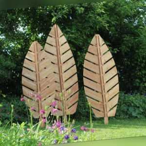 3-er Satz Sichtschutz Rankgitter Blätter in 3 Größen Lärchenholz Gartendesign Ge