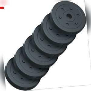 ScSPORTS® 15 kg Hantelscheiben Set Kunststoff 6 x 2,5 kg Hantel Gewichte 30 mm