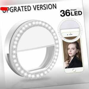 Selfie Licht Ring Blitz Flash Light 36 LED Für IPhone Huawei Samsung Tablet DE