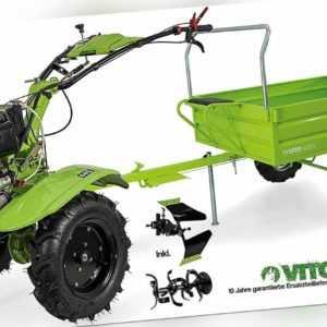 VITO Einachsschlepper mit Anhänger 12PS Diesel E-Start Pflug + Bodenfräse 135cm