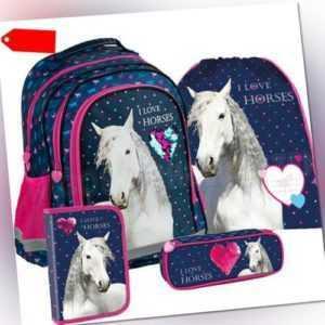 Pferde Horse Schulrucksack Rucksack Tasche Schulranzen Set (4) Federtasche blau
