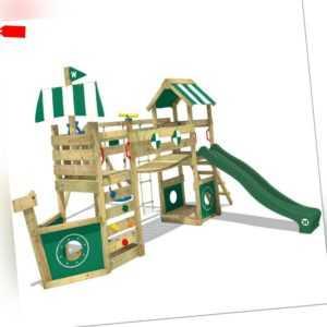 WICKEY Spielturm Klettergerüst StormFlyer mit Schaukel und grüner Rutsche